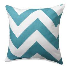 Turquoise Wide Chevron Throw Pillows