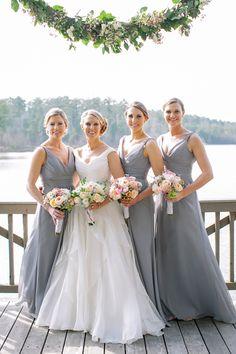 Soft grey bridesmaid dresses