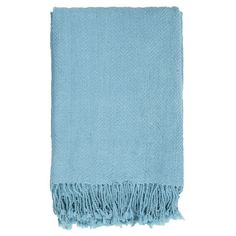 Fringe-trimmed throw.     Product: Throw Construction Material: 100% Acrylic Color: Sky    Dimensions: 50 x 60  Cleaning and Care: Blot stains