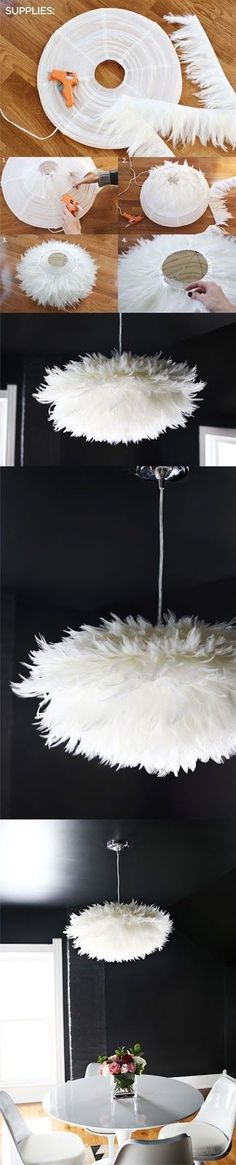 I love this PIN because it is so creative and it made be brush up on my Spanish :) lampara con plumas DIY muy ingenioso 2 Diy Home Decor Projects, Diy Projects To Try, Craft Projects, Decor Ideas, 31 Ideas, Decor Crafts, Art Decor, Diys, Feather Lamp