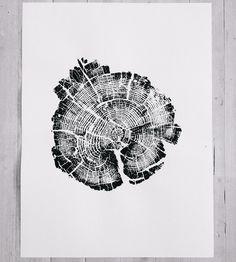 Burned Yellowstone National Park Tree Ring Art Print, No. 2 by LintonArt on Scoutmob