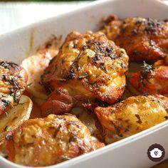 Pollo adobado al horno Fırın yemekleri Oven Baked Chicken, Marinated Chicken, Junk Food, Salvadorian Food, Pollo Recipe, Pollo Chicken, Chicken Saute, Mushroom Chicken, Cooking Recipes