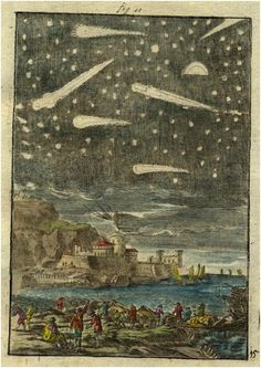 Description de L'Univers  View of comets, 1719   by Alain Manesson Mallet, Paris 1683