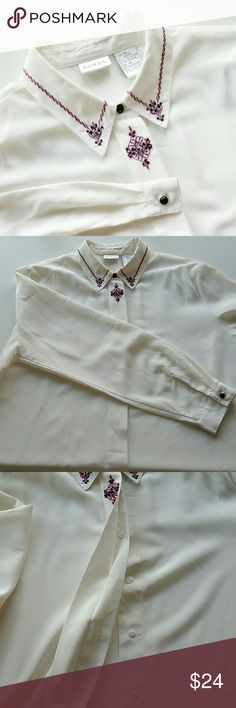 """Vintage Embroidered Collar Button Down Shirt Vintage Embroidered Collar Button Down Shirt. Off white. Very silky fabric. Size 14. Pit to pit is 23.5"""" flat and shoulder to hem is 27"""". In great pre-loved condition with minimal signs of wear. Vintage  Tops Button Down Shirts"""