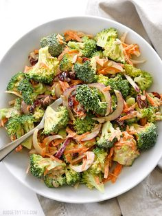 Broccoli Salad with Honey Yogurt Dressing is light and refreshing raw salad for summer. BudgetBytes.com