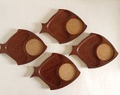 Mid Century Wooden Plates Fish Appetizer Snack Trays with Cork Coasters Hostess Gift