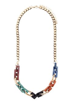 Wooden Multi Colour Necklace by Something Borrowed. Gold chain necklace combined…