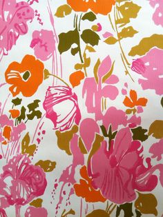Vintage 1960s Wallpaper-Whimsical Pink Poppies-by the yard. $9.00, via Etsy.