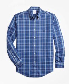 Brooks Brothers Non-Iron Regent Fit Blue Plaid Sport Shirt Casual Shirts For Men, Men Casual, Casual Attire, Blue Shirt Outfits, Mens Clothing Brands, Men's Clothing, Formal Men Outfit, Sports Shirts, Men's Shirts