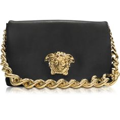 Versace Handbags Palazzo Black Shoulder Bag w/Golden Medusa & Chain (€2.175) ❤ liked on Polyvore featuring bags, handbags, shoulder bags, black, handbags shoulder bags, chain shoulder bag, hand bags, man shoulder bag and versace purses