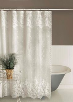 Lace shower curtains on pinterest shower curtains striped shower