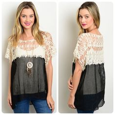 Stunning contrast crochet/net relaxed fit blouse! This relaxed fit top features a contrast colored crochet yoke, short sleeves and a round neckline.  Follow me on Instagram @kfab333 for more items Tops