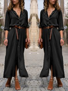 Women S Fashion Dresses Wholesale Referral: 1206668726 Black Dress Outfits, Casual Dresses, Fashion Dresses, Casual Long Black Dress, Black Maxi, Black Dress Accessories, Beautiful Black Dresses, Closet, Long T Shirts