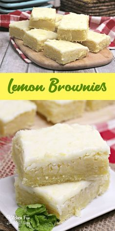 Lemon Brownies are my new favorite dessert. Topped with a delicious lemon glaze,… Lemon Brownies are my new favorite dessert. Topped with a delicious lemon glaze, they are just the right mix of fresh lemon and sweetness. Brownie Desserts, Brownie Recipes, Cookie Recipes, Dessert Recipes, Party Food Recipes, White Chocolate Desserts, Brownie Pan, Brownie Bites, Meatloaf Recipes
