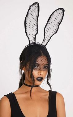 Black lace veil bunny ears, £9, Pretty Little Thing.
