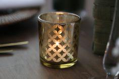 Frangipani/plumeria gold candle votive holder