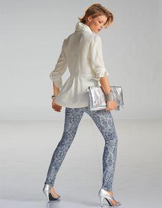 Bedruckte Jeans in der Farbe blue - blau - im MADELEINE Mode Onlineshop