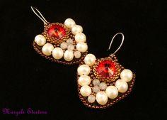 OOAK Red Statement Bead Embroidery Earrings by MargeleEtcetera Chandelier Earrings, Beaded Earrings, Statement Earrings, Beaded Jewelry, Drop Earrings, Unique Jewelry, Beaded Embroidery, Beading, Pearls