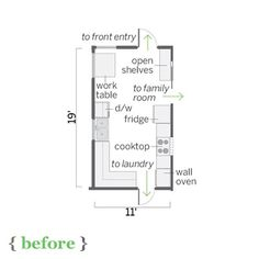 floor plan of this sunny kitchen before remodel Open Shelving, Shelves, Kitchen Floor Plans, Home Additions, Front Entry, Wall Oven, Old Houses, Brewing, Kitchen Design