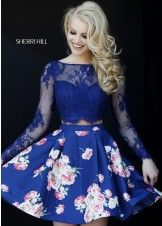 Sherri Hill 32323 Navy with Floral Skirt