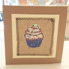 Cupcake card - pink - Dolly What Not Fabric Cards, Fabric Postcards, Embroidery Cards, Free Motion Embroidery, Cupcake Birthday, Card Birthday, Birthday Images, Birthday Quotes, Birthday Greetings