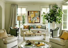 Why I Love Interior Designer Barbara Barry | Part 2. Notice wool draperies lined in pale aqua.