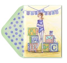 Bella Pilar Mom & Baby with Blocks Papyrus Cards, Baby Blocks, Baby Cards, Mom And Baby, Cello, Fun Stuff, Collection, Illustrations, Girls