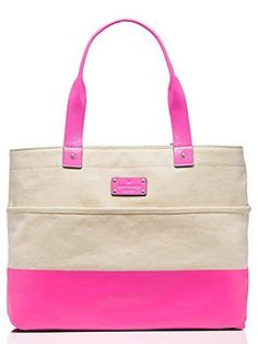 Kate Spade Magazine Tote Horseshoe Cove Top Handle Handbag (Natural/Pink) >>> See this great product.