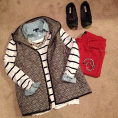 herringbone vest, stripes, and red jeans