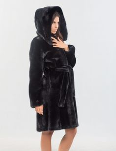 1551de11f1 Black Mink Fur Jacket With Hood. 100% Real Fur Coats and Accessories. Fur