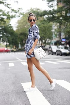 Gingham romper + white sneakers + cross-body purse