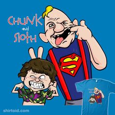 Chunk and Sloth | Shirtoid #calvinandhobbes #chunk #comic #comics #film #marianosan #marianosanchezlorente #movies #sloth #thegoonies