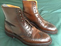 Crockett and Jones  Skye 2  Boots Cordovan Dark Brown boots A full brogue derby boot with wing tip design and bold punching detail. Made from Shell Cordovan leather with Dainite rubber soles and a Storm welt. Last: 335