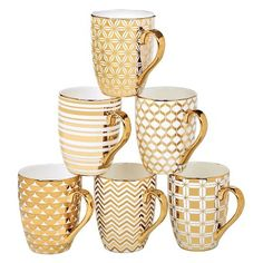 Certified International Elegance Gold Plated Assorted Tapered Mugs - Set of 6 : Target