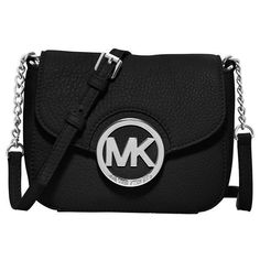 MICHAEL Michael Kors 'Small Fulton' Crossbody Bag ($148) ❤ liked on Polyvore featuring bags, handbags, shoulder bags, purses, black, black crossbody handbags, pocket purse, michael michael kors purse, black purse i crossbody shoulder bags
