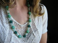 large green glass vintage necklace