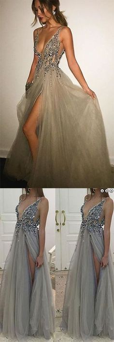 Gray prom dresses,Deep V-neck prom dress,Side Slit prom gowns,Tulle Long Prom Dress With Crystals #longpromdresses