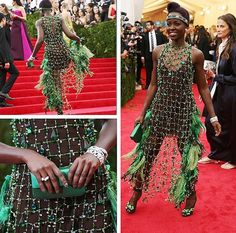 Get #LupitaNyongo's #MetGala #Mani — Layer a deep hunter green lacquer with an iridescent lavender lacquer. - xx DL  Image c/o @nytimesfashion