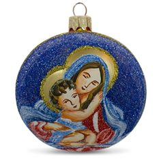 mary holding jesus glass ball religious christmas ornament holiday gift idea