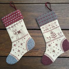 """""""My swap stockings are ready for this coming Sew.Stitch.Sea weekend here on the Sunshine Coast. Pattern from my book 'Stitch It For Christmas'. Are you…"""""""