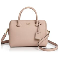kate spade new york Cameron Street Lane Large Leather Satchel ($180) ❤ liked on Polyvore featuring bags, handbags, genuine leather purse, leather satchel handbags, satchel handbags, leather satchel purse and pink handbags