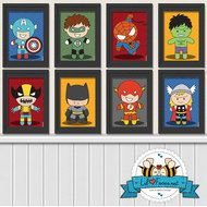 "Bundle 8x10"" - Superhero Digital Art Prints - Printable Art Superhero Poster- Comics Pop art Nursery Baby superheroes hulk thor spiderman the flash green lantern batman captain america wolverine superman"