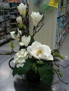 Magnolias from Michaels, Hamilton, NJ Large Flower Arrangements, Artificial Floral Arrangements, Funeral Flower Arrangements, Vase Arrangements, Funeral Flowers, Artificial Flowers, Centerpieces, Faux Flowers, Silk Flowers