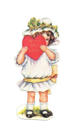 Antique Images: Free Vintage Valentine Graphic: Valentine Greeting Girl Holding Red Heart