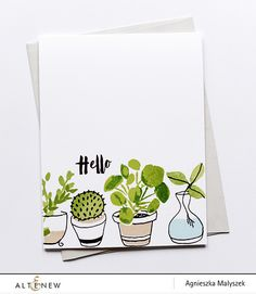 This layering stamp set will give you a variety of potted plants with a beautiful painted look! Unlike any other Altenew stamp sets, this combines half-sketched and half-painted images. Shop here. Watercolor Cards, Watercolor Illustration, Watercolor Flowers, Watercolor Animals, Watercolor Background, Watercolor Landscape, Abstract Watercolor, Simple Watercolor, Tattoo Watercolor