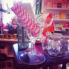 Giant Cocktail Glasses available in the cottage and online too! Great for a Hen Party, or a Birthday or a Tuesday!.... www.moss.ie Moss Cottage