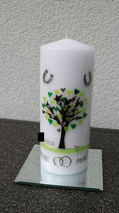 Hochzeitskerze mit Baum und Hufeisen für ein begeistertes Reiterpaar Pillar Candles, Candles, Wedding Bride, Horse Shoes