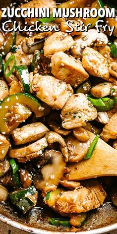 This easy Zucchini Mushroom Chicken Stir Fry recipe is bursting with flavor in each and every bite! All you need is one skillet, 20 minutes, and just a handful of pantry ingredients. recipes for two recipes fry recipes Easy Zucchini Recipes, Vegetable Recipes, Healthy Recipes, Healthy Mushroom Recipes, Chicken Zucchini Bake, Baked Fried Zucchini, Stuffed Zucchini Recipes, Recipe Zucchini, Recipes