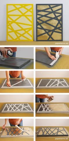Como-hacer-cuadros-con-spray-how-to-make-diy-painting 2 Painting with Coloring with Splash Crafting Diy Canvas Art, Diy Wall Art, Diy Art, Spray Paint Canvas, Cut Canvas, Tape Art, Mur Diy, Cuadros Diy, Easy Paintings