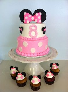 Minnie Mouse Birthday Cake and Cupcakes - Pink and Black